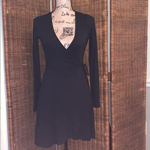 Women Black Mini Wrap Dress